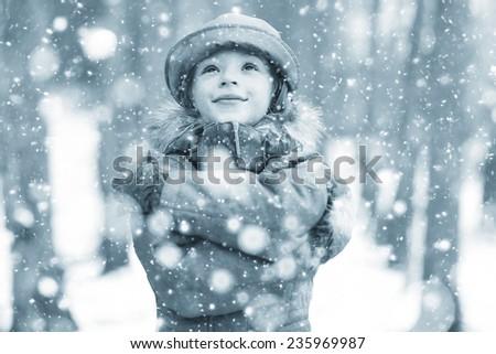 snow, christmas dream girl - stock photo