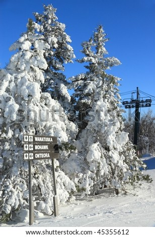 Snow clad fir trees at the top of Wanatuska ski trail with the ski lift in the background at Belleayre Mountain Ski Resort in the Catskills Mountains of New York - stock photo