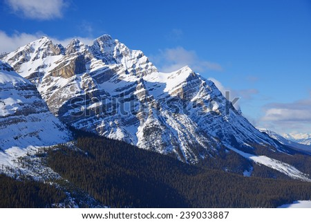 snow cover mountain peaks in Banff national park, canada - stock photo