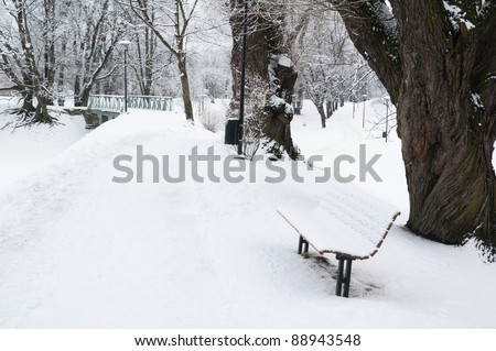 snow-covered bench in Winter Park - stock photo