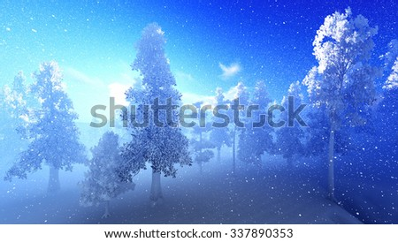 Snow covered Christmac forest in mountains - stock photo