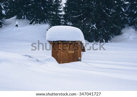 Snow-covered mountain latrine in wintertime with pine-forest in background - stock photo