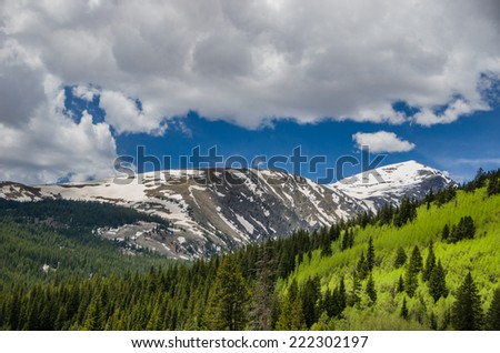 Snow covered mountains beyond a lush forest with a cloudy blue sky. - stock photo