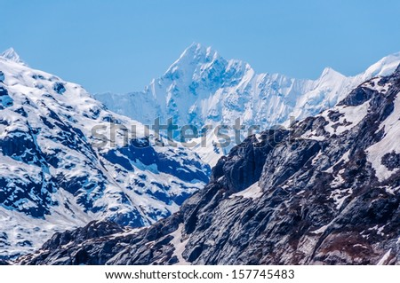 Snow covered mountains, Glacier Bay National Park, Alaska - stock photo