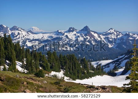 Snow Covered Mountainsin the Pacific Northwest part of the United States. - stock photo