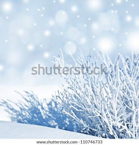 snow covered nature - winter background - stock photo