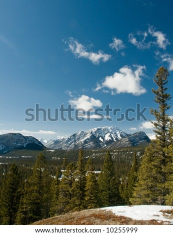 Snow covered Rocky Mountains in Banff National Park Alberta Canada - stock photo
