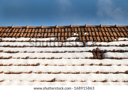 Snow covered roof - stock photo
