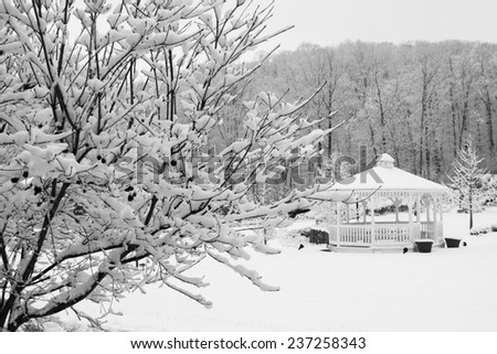 Snow covered trees and gazebo. - stock photo