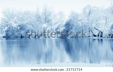 Snow covered trees reflected in the river - stock photo