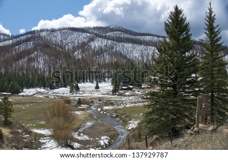 Snow covers the layered mountain surrounded by pine trees - stock photo