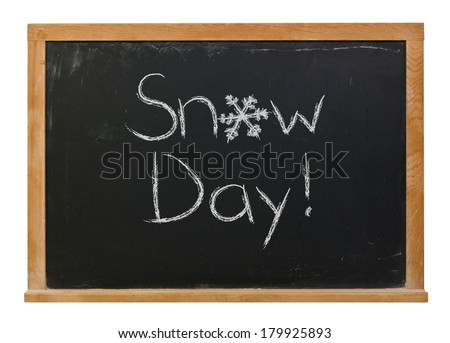 Snow day written in white chalk with a hand drawn snowflake on a black chalkboard isolated on white - stock photo