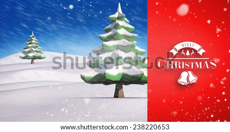 Snow falling against snowy landscape with fir trees - stock photo