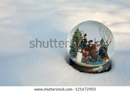 snow globe and empty space for your text - stock photo