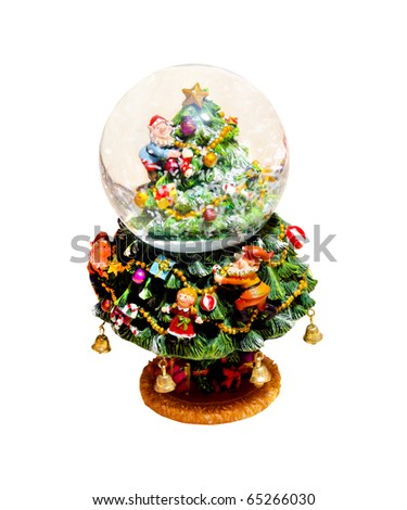 Snow globe Christmas ornament isolated with clipping path included - stock photo