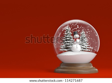 snow globe whit snowman and trees on a red background with copy space, clipping path included - stock photo