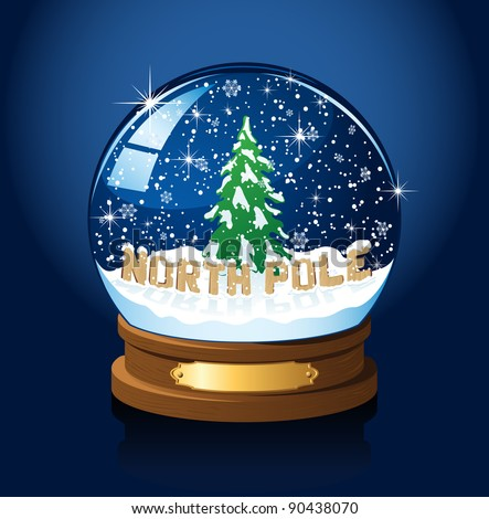 Snow globe with North Pole, Christmas tree and the falling snow, illustration - stock photo
