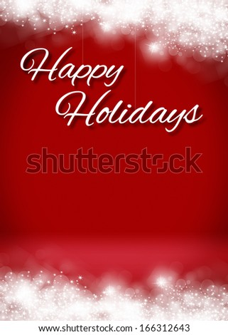 Snow Happy Holidays Blank 3D Greeting Card Background Template - stock photo