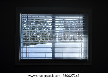 Snow in front of window - stock photo