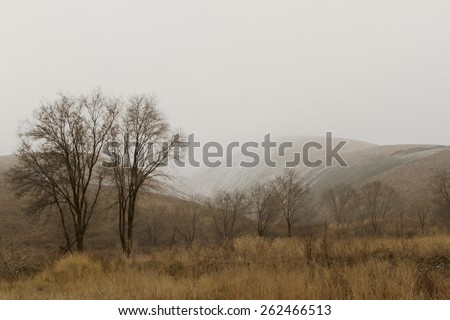Snow in the foothills of the Trans-Ili Alatau in early spring - stock photo