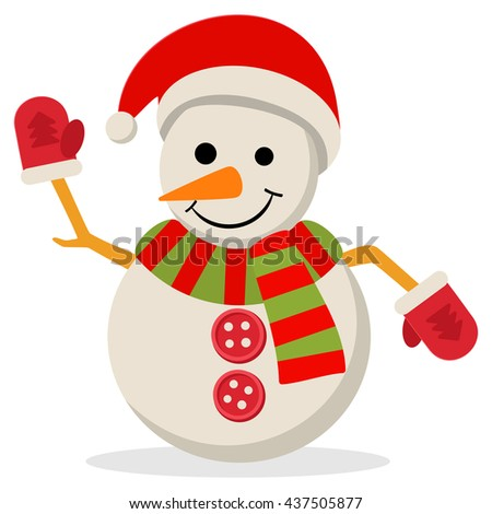 Snow Man in santa claus cap. illustration isolated on white. Merry christmas concept with snowman in scarf gloves and hat. - stock photo