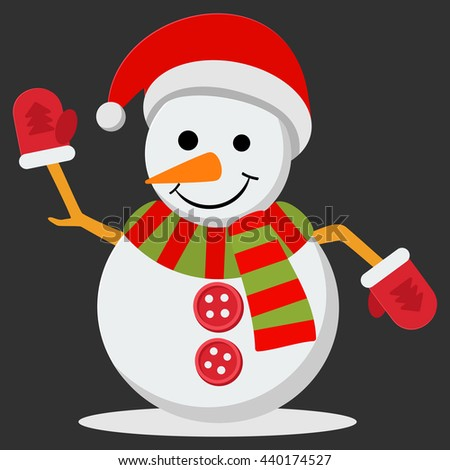 Snow Man in santa claus cap. illustration on black background. Merry christmas concept with snowman in scarf gloves and hat. - stock photo
