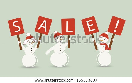 """Snow mans on a vintage grunge background and word """"Sale"""" on a signboards  - stock photo"""