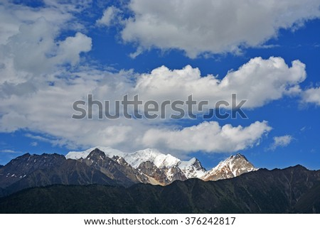 snow mountain and glacier  - stock photo
