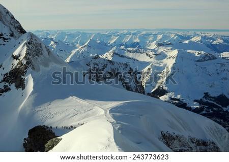 snow mountain arrangement - stock photo