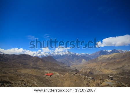 Snow Mountain at Muktinath in Upper Mustang , Annapurna conservation area, Nepal  - stock photo