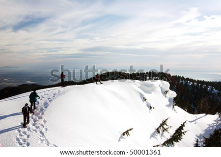 Snow mountain hiking in winter season. - stock photo