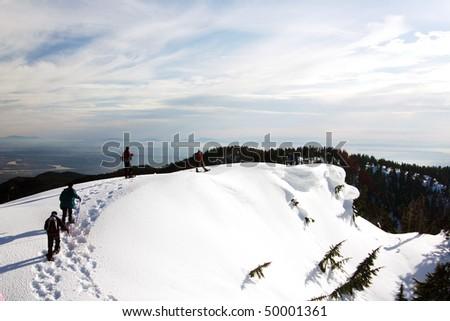 Snow mountain hiking in winter season. - stock photo