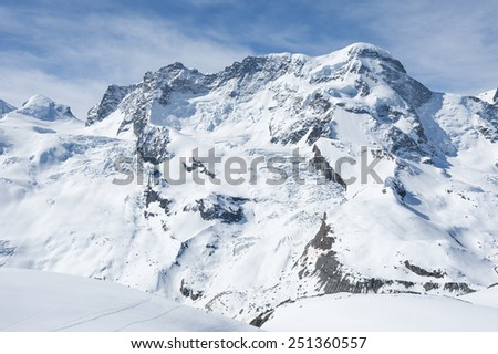 Snow mountain in Swiss - stock photo