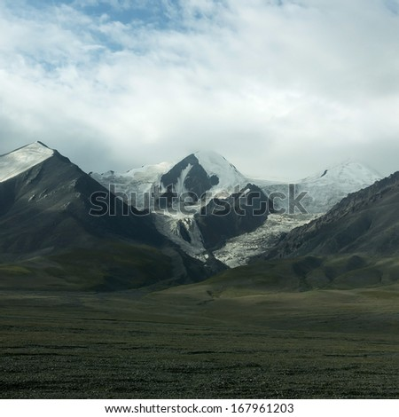 Snow Mountain in Tibet - stock photo