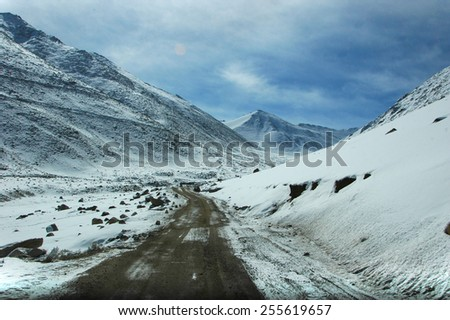 Snow mountain of Himalaya range in the north of India - stock photo