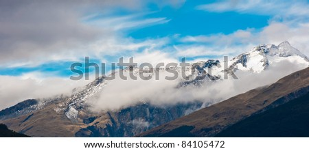 snow mountain of southern alpine alps in New Zealand - stock photo