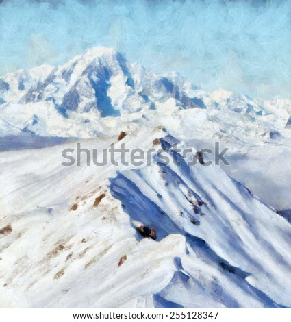 Snow mountain ridge in French Alps Painting - stock photo