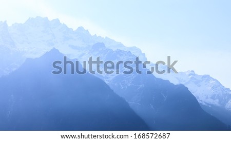 snow moutain in north Sikkim, India - stock photo
