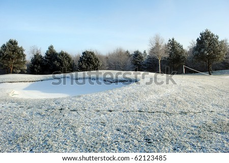 snow on a golf course in blessington country wicklow ireland - stock photo