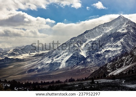 Snow on the California Sierra Nevada Mountain range - stock photo