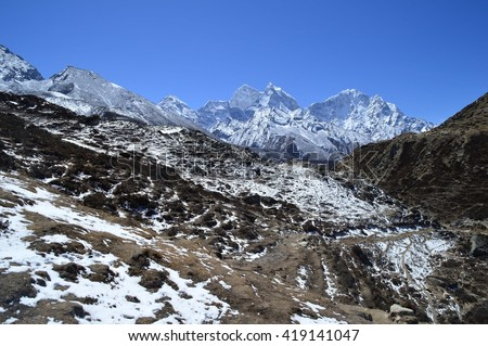 Snow over the Himalayan mountains, Nepal - stock photo