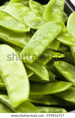 Snow peas in pod, close up - stock photo