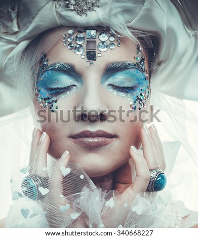 Snow Queen over white background - stock photo