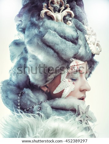 Snow Queen over white background. - stock photo
