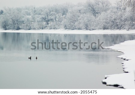 Snow scene on Mississippi river. More with keyword group1