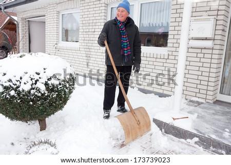 snow sweep - stock photo