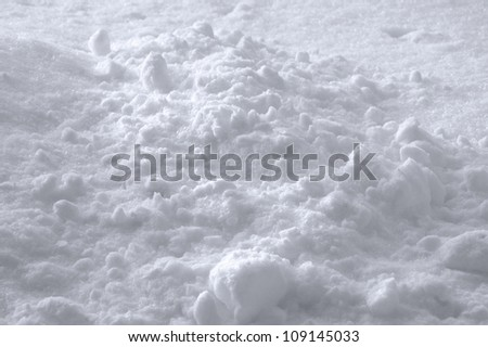 Snow Texture Background, Bright New Fresh Sparkling Drift Heap In Slight White Blue, Detailed Sunny Closeup, Gentle Shadows - stock photo