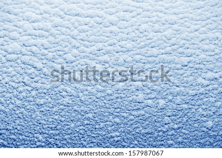 snow texture in winter season, it was wet and then congealed on glass surface - stock photo