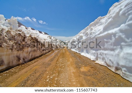 Snow Wall at Animas Forks Ghost Town at Silverton, Colorado - stock photo