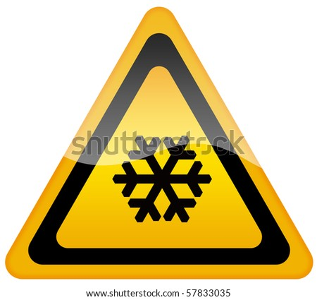 Snow warning sign - stock photo